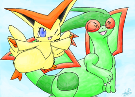 Flygon and Victini by Yakalentos