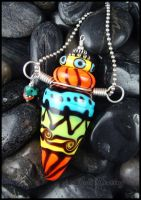 Song of Africa - Glass Lampwork Bottle Pendant by andromeda