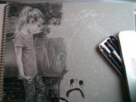 Drawing, charcoal, pastel-paper A3 in progress by Helsartpage
