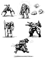 Mecha Sketches by Norsehound