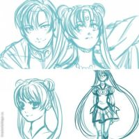 Sailor Moon Scetches by HaloBlaBla