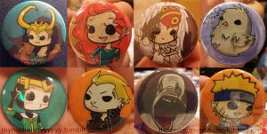 Anime Los Angeles 2013 Button Commissions by TheonenamedA