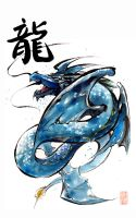 Blue Dragon with Calligraphy by MyCKs