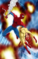 Spidey Rescues Firestar by BobKO