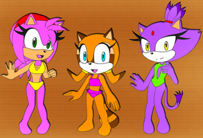 C: Bikini Gals Amy, Marine, Blaze by DarkSonic250
