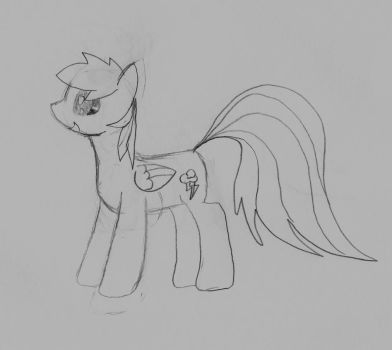 Rainbow Dash sketch (black and white) by Mewzy148