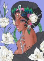 Afro American Girl literally by madhatter-asylum