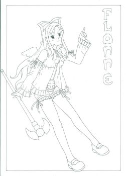 Angel Trainee Flonne - lineart by Ronin-errante