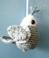 Amigurumi Grey and White Bird Ornament by AAMurray