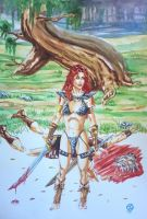 Red Sonja Watercolor by WEDMER