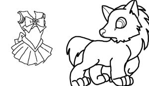 Sailor Moon Wolf Lineart Commission by Airazon