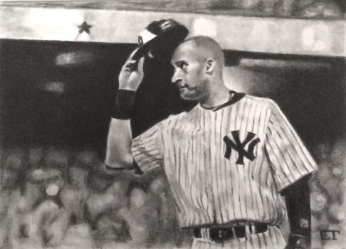Derek Jeter Farewell Game Yankees Sketch Card by avintagedreamer