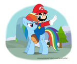 Mario and Rainbow Dash by chainchomp7