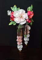Wedding Ume and Holly tsumami kanzashi. by hanatsukuri