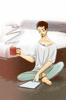Tony Stark - Morning Coffee by Starsandstark