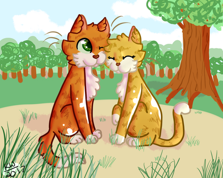 Firestar x Sandstorm REDRAW by KittenWillow