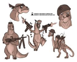 Pun Dinos 06 sketches by ArtKitt-Creations