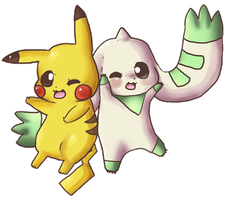 Pikachu and Terriermon by Hibouette