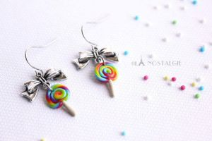 Rainbow Lollipop Earrings Handmade Jewelry by LaNostalgie05