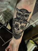 owl candy skull tattoo by ShizZuro