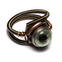 Steampunk Ring Green Eye by CatherinetteRings