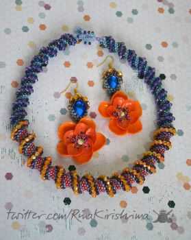 poppies and blue crystals jewelry set by RinaKirishima