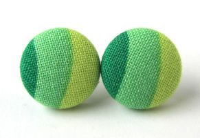 Unique button earrings studs green lime yellow by KooKooCraft