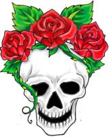 Skull and Roses by hellcatmolly
