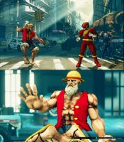SFV Dhalsim cosplays Luffy by monkeygigabuster