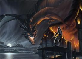 Smaug Attacks Laketown by TobyCarr