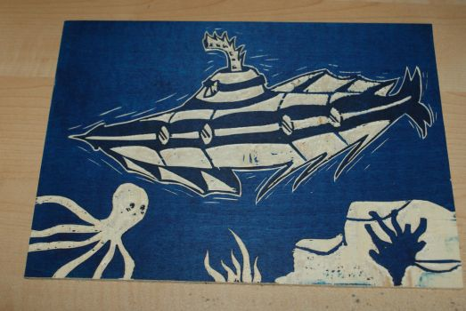 Submarine 1 - On wood by Katsmoka