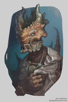 Alien priest portrait by monartt
