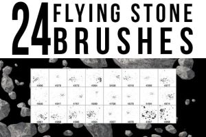 24 Flying Stone Brushes by stockgorilla