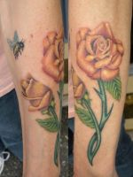 TWO ROSES AND A BEE by amduhan
