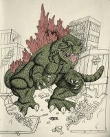 Godzilla attacks by Godzilla4ever