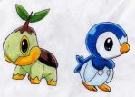 Turtwig N Piplup by MewIchigoZoey