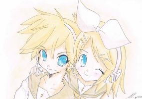 Len and Rin Kagamine by Chocolate-Luver