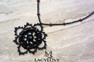 Tatted gothic pendant ELEGY by LacyLoveHandmade