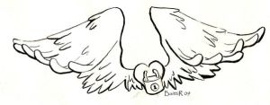 Winged heart tattoo desing by Baitti