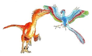 Velociraptor and Archaeopterix by camiloandres