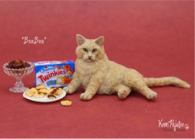 Miniature 1:12 Cat sculpture - BonBon by Pajutee