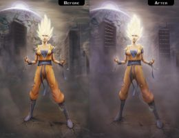 Goku as Super Saiyan (Before and After) by YeshuaNel