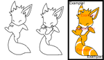 - Cute Fox Lineart - by MusicalAdopts