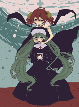 Bloody tear Sisiter and Baphometeto by akizato929