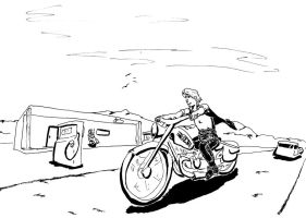 Avery Hillpeak on his motorcycle by Starfighterace-421