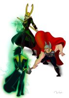 Disney Thor And Loki Fighting Lessons by PixiNora