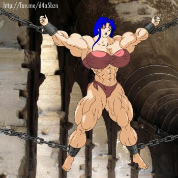 Chained Muscle Girl by elee0228