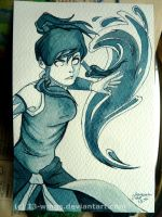 Korra - Inktober 2 by xiii-wings