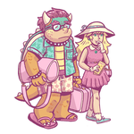 Peach and Bowser by kaykedrawsthings