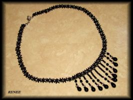 Black tear necklace by jasmin7